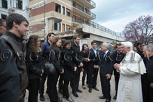 28-04-2009 Pope Benedict XVI visits the earthquake-ravaged area in L'Aquila